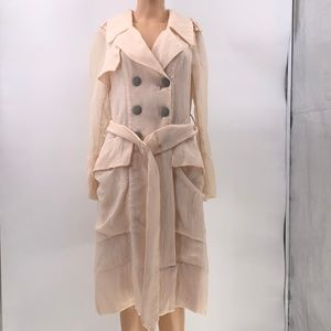 Yoana Baraschi cream Metallic Trench Coat dress 6